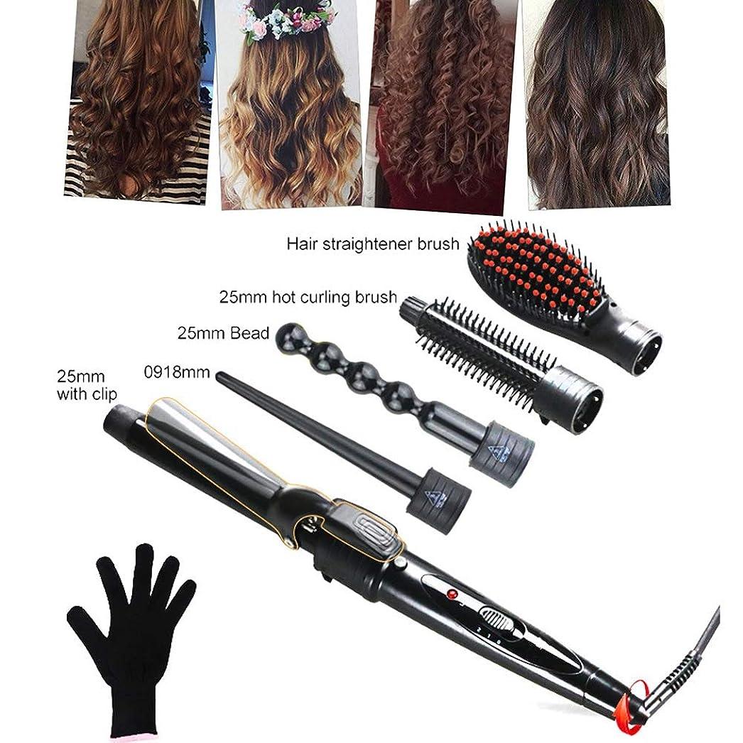 物理的なグラフフォームヘアカーラー - 5で1カーリングアイロンセット、5髪交換カーラーセラミックバレ 耐熱手袋が付 ストレートヘアコーム ル用すべての髪