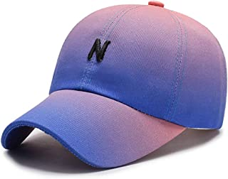 ROWILUX Women's Stylish Gradient Color Baseball Hat Letter Embroidery Sun Cap Adjustable