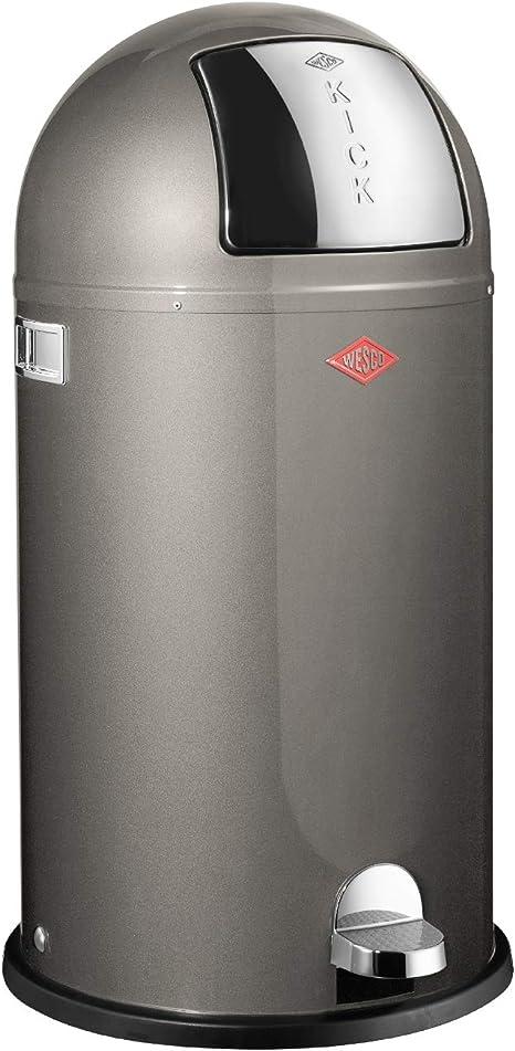 New Silver Wesco Pushboy Powder Coated Steel Waste Bin 50L