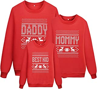 Reindeer Christmas Family Sweatshirt Long Sleeve Snowflake Top Shirts for Women