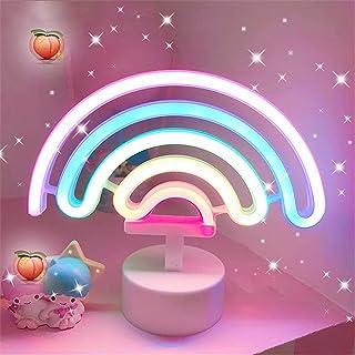 Veilleuse arc-en-ciel LED avec base, lumières LED néon à piles ou USB, décoration lumineuse pour Noël, fête d'anniversair...