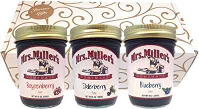 Favorite Berries Gift Assortment Box - 3 Jar Sampler, Variety Pack of Blueberry & Boysenberry Jam, and Elderberry Jelly (9 oz full-sized jars) by Mrs. Miller's in a Gold Scroll Gift Box by Jarosa Gif