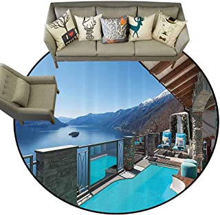 Anti-Skid Area Rug House Decor Collection Terrace with Pool and Lake View Luxury House Balcony Leisure Dream Vacation Image Pattern Living Dinning Room and Bedroom Rugs D63 Blue Aqua