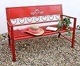 DanDiBo Gartenbank Metall Wetterfest 2Sitzer 120 cm Sitzbank Passion Rot 1-121495 Eisen Blumenbank Garten