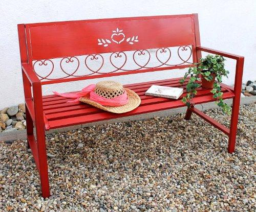 DanDiBo Gartenbank Metall Wetterfest Rot 120 cm 2 Sitzer Sitzbank Passion 121495 Eisen Blumenbank Garten