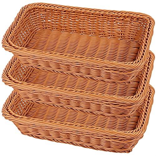 CZXKJ 3 Paquetes de cestas de Pan de ratán de 12 Pulgadas Hecho a Mano Organizador ORGANIZADORES DE PANTENERA DE TABENDIENTE DE Mayor para FRUITOS Snack Canasta Pan