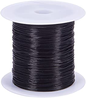 (0.8mm, Black) - Pandahall 1 Roll 0.8mm Black Elastic Fibre Thread Cord Wire for Beading Jewellery Making, 10m/roll