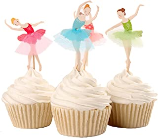 BETOP HOUSE Set of 24 Pieces Cute Ballet Dancer Girls Fairy Peri Dessert Muffin Cupcake Toppers for Picnic Wedding Baby Shower Birthday Party Server (#1)