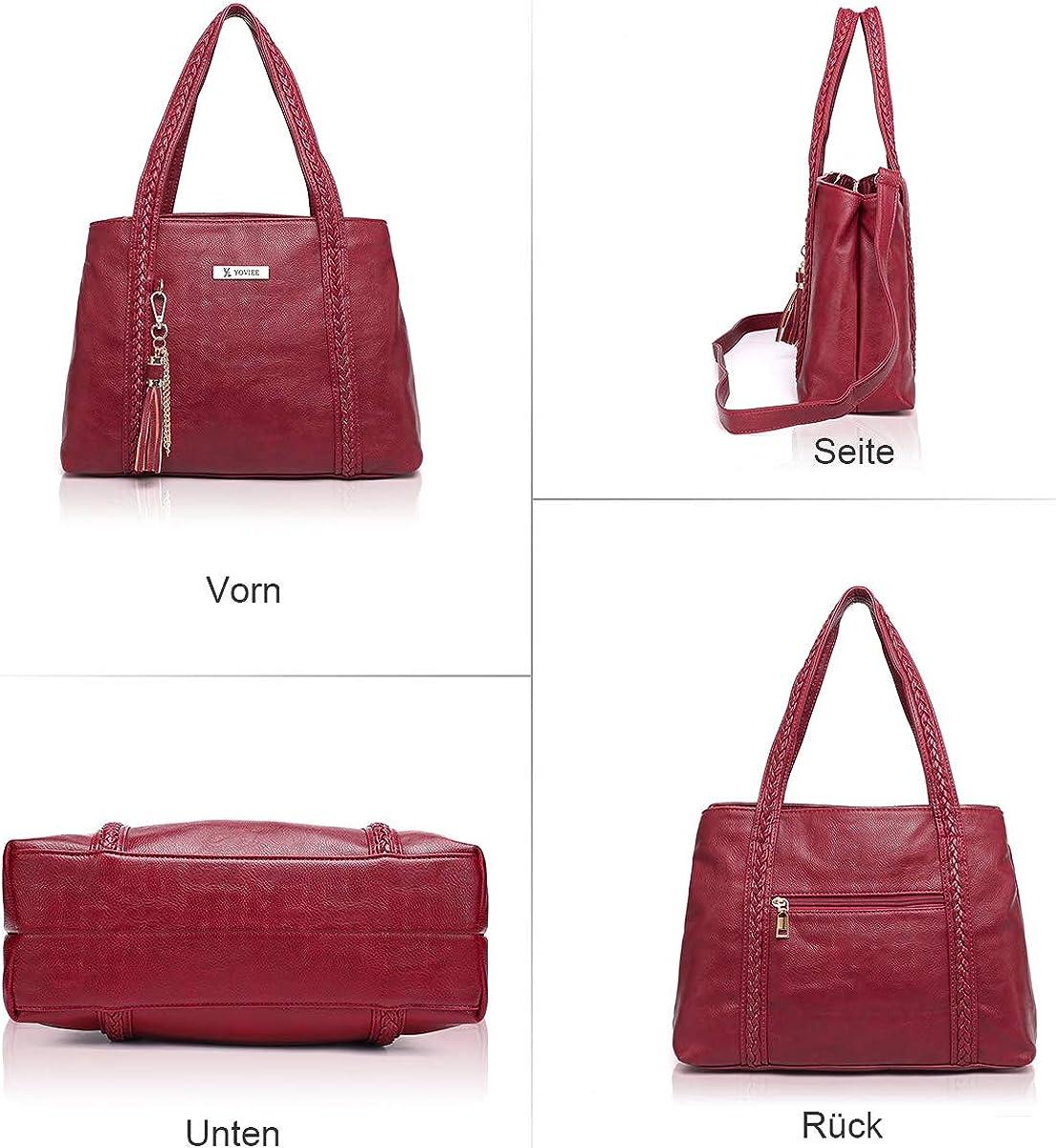 Damen Handtasche wasserdicht PU Leder Shopper Handtasche Retro Elegant Gro/ß Tote Mode Design Klassische Qualit/ät Schultertasche Aktentasche Henkeltasche