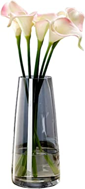 Ins Modern Glass Vase Irised Crystal Clear Glass Vase for Home Office Decor (Crystal Grey)