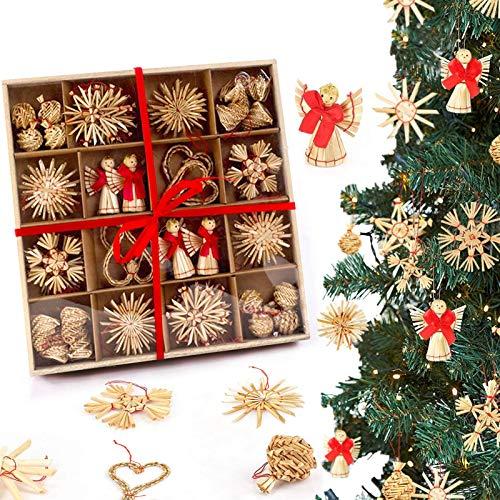 Strohsterne Weihnachtsbaumschmuck,52-teiliges Baumkugeln aus Stroh,Handgemachte Natürlicher Weihnachtsbaum Deko,Weihnachtsbaum Deko zum,Strohsterne Weihnachtsbasteln,Strohsterne Baumschmuck