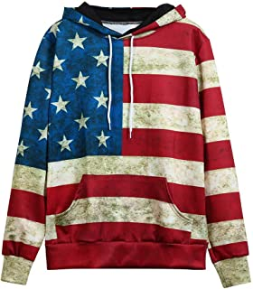 HOSOME Women Hoodie Sweatshirt Unisex Fashion USA American Flag Print Long Sleeve Pockets Slim Pullover Top