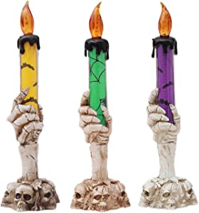 Skull Flameless Candles Halloween Decorations Vintage Pumpkins Witch Scary Party Decor Battery Operated Pumpkin Skeletons Candle Lights Tree Yard Table Decorating for Home Indoor Outdoor Decoration