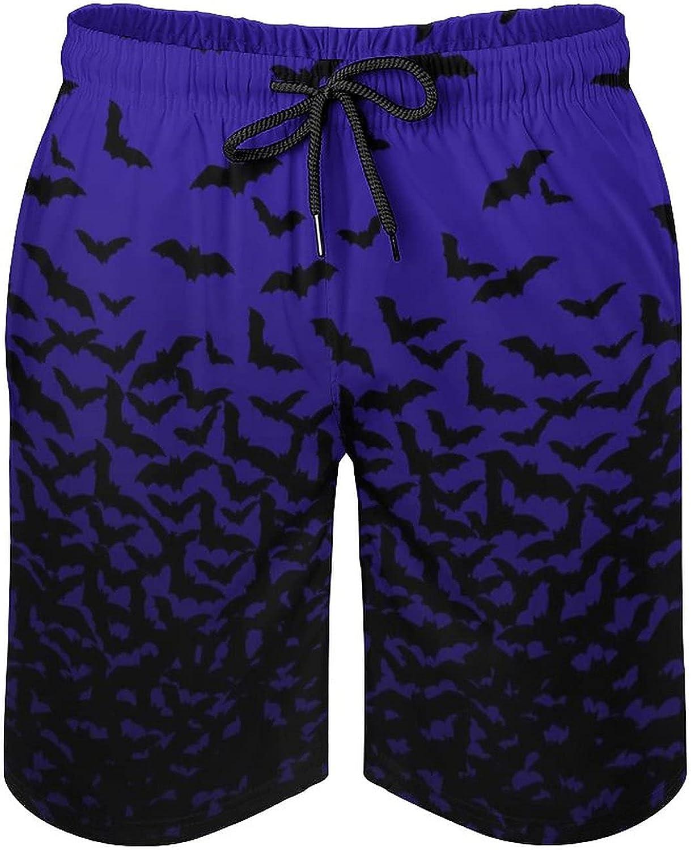 LIHXEN Bats Deep Blue Sky Men's Swim Trunks Quick Dry Soft Beach Shorts Adjustable Waist Bathing Suits
