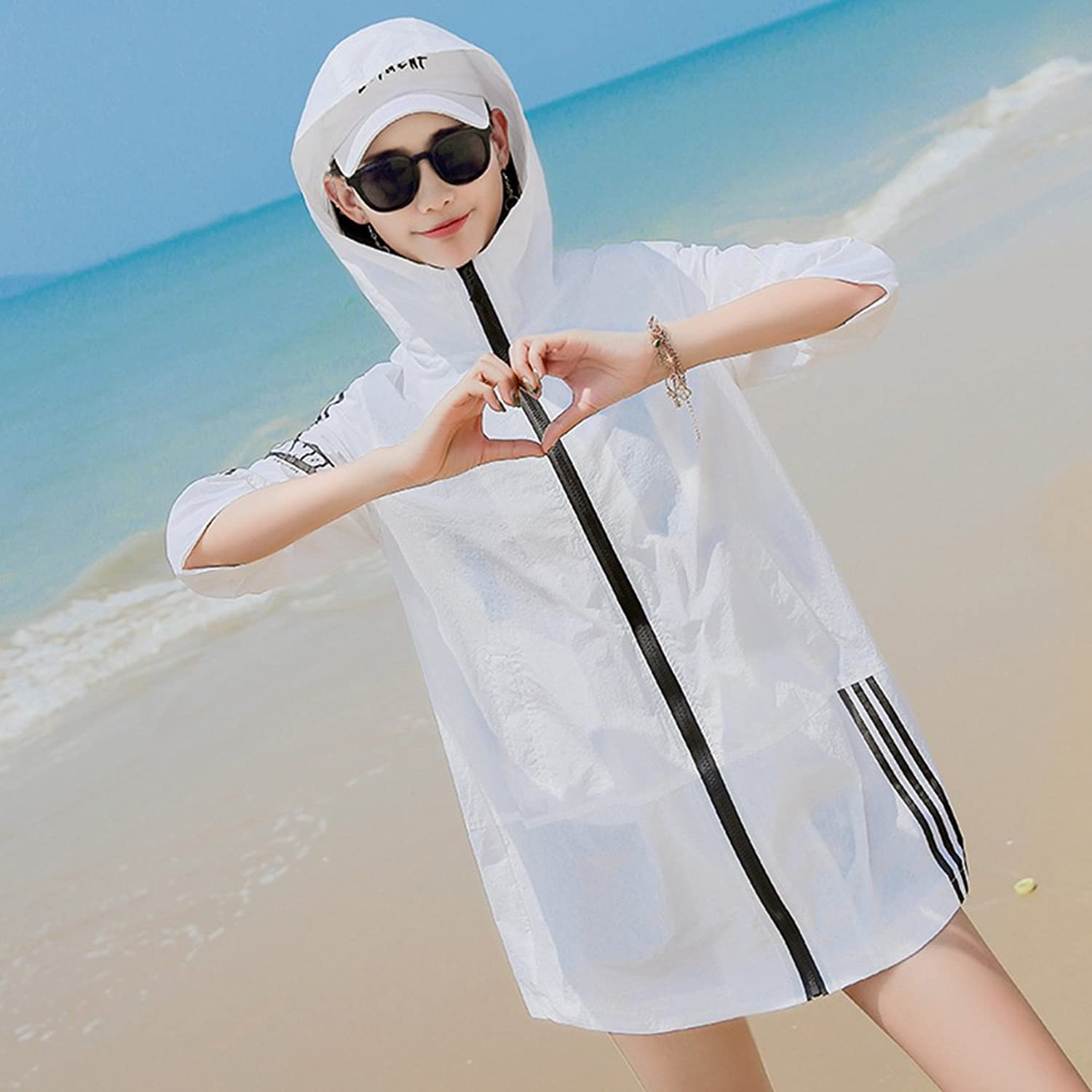 XRXY Female Summer Printing Sun Predection Clothing Loose Thin Large Size Windbreaker Coat White Long Section Breathable Sun Predection Shawl (Size   XL)