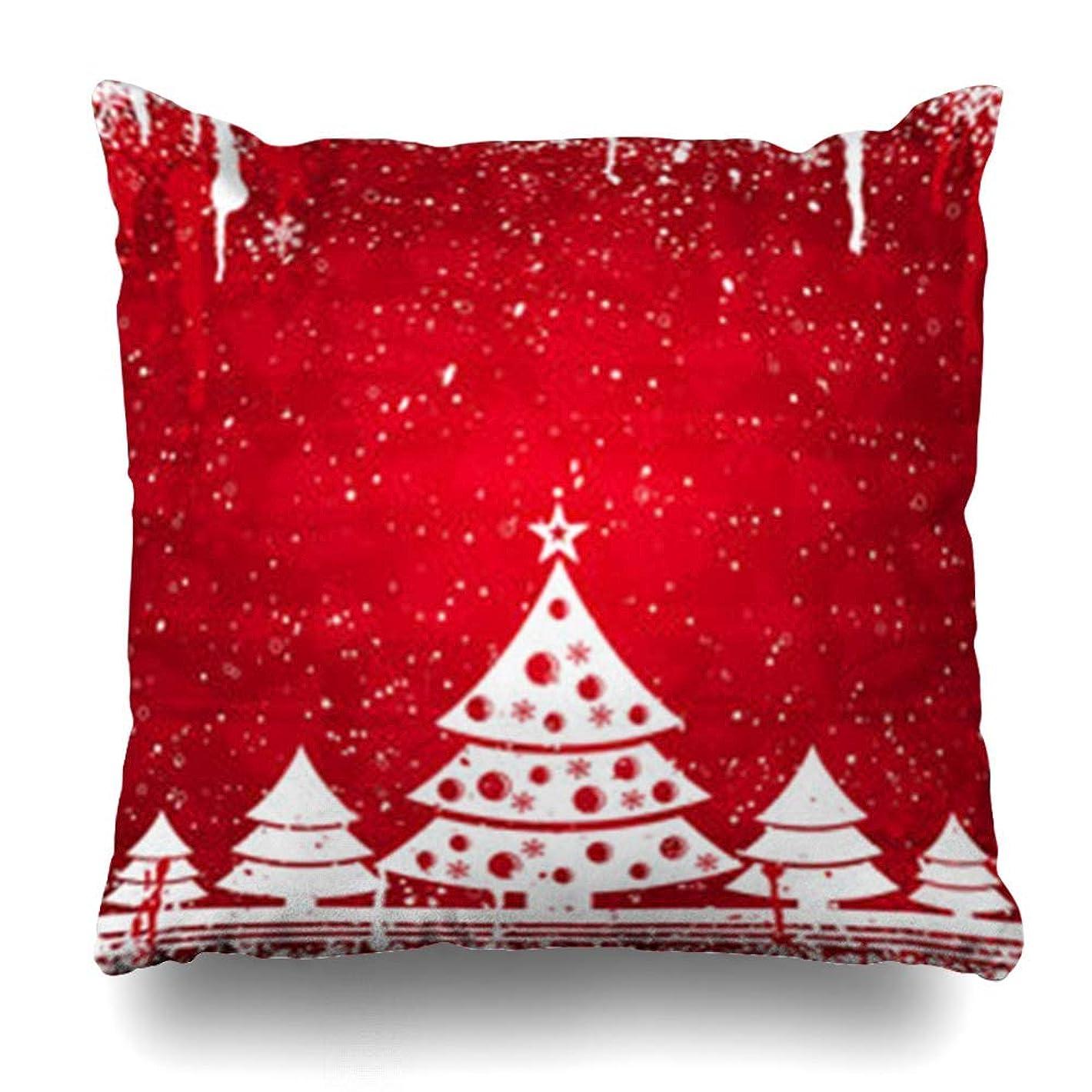 バンガローシェード否認するスロー枕カバー冬クリスマスネイチャーツリーホリデークリスマスモミ白Snowflakedesign定型化ホームデコレーションクッションケースSquare18 * 18インチ装飾ソファ枕カバー