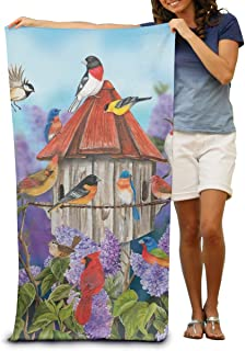 130×80 Cm 鳥とライラック春のバードハウス花カーディナル ソフトタオル ビーチタオル 折りたたみ 吸水性バスビーチタオル ビーチ プール 海水浴 ビキニ 水着