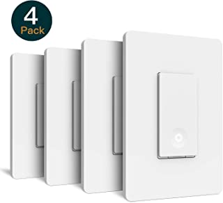 Smart Light Switch, Laghten Wi-Fi Light Switch, Works with Alexa, Google Assistant and IFTTT, Single-Pole, Schedule, Remote Control, Neutral Wire Required, Easy Installation, No Hub required - 4Packs