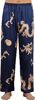 YAOMEI Men's Pyjamas Bottoms Satin, Silky Long Drawstring Lounge Shorts Pants Plsin Nightwear Underwear Casual Trousers El...