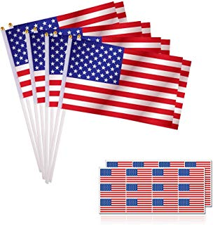 KUUQA 50PCS American Flags Hand Held Mini US Stick Flags and 24PCS American Flag Stickers Patriotic Sticker for 4th of July Independence Day Decoration and Patriotic Events