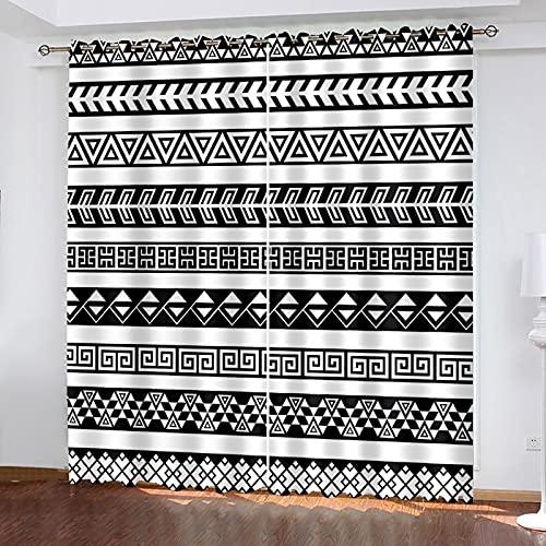 HAOGG Cortinas para Salon 3D Blanco Y Negro Línea Arte Abstracto 2...