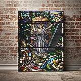 Cuadros Modernos Impresión de Imagen Póster de Jesucristo con vitrales 55x73 cm (sin marco) Decoración para el hogar pintura