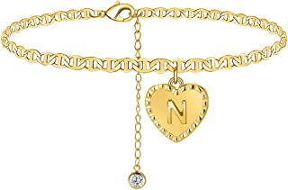 ATIMIGO Initial Charm Ankle Bracelet 18k Gold Plated Foot Chain Adjustable Link Anklet with Letter Alphabet Summer Beach F...