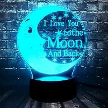 New Fairy Tale I Love You to The Moon and Back Bear Cartoon Novel Bedroom Baby Sleep Mood Table LED Night Light Holiday Party Supply Kids Xmas Gift Birthday Gift(Moon)