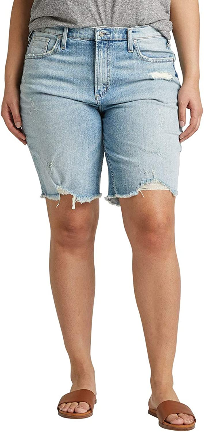 Silver Jeans Co. Women's Plus Size Frisco HighRise Vintage Knee Short