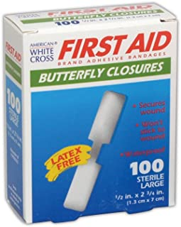 AM WHT CRS MP60333 American White Cross Medium and Large Butterfly Wound Closures, 0.5