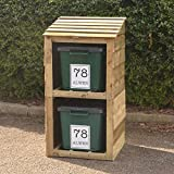 Signs & Numbers Recycle Box Storage, Bin and Recycling Store for 2 Bins with 2-Free Personalised Address Labels, Perfect Wooden Recycling Storage 660 x 600 x 1135 Millimetres