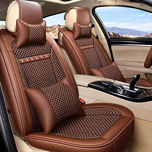 Wmxcz Seat Covers Set, Leather Set Universal Waterproof Seat Cushion Fit 5 Seats Airbag ready for Sedan SUV (Color, Brown),Brown
