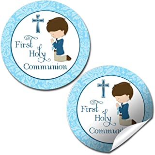 First Holy Communion Religious Thank You Sticker Labels for Boys, 40 2