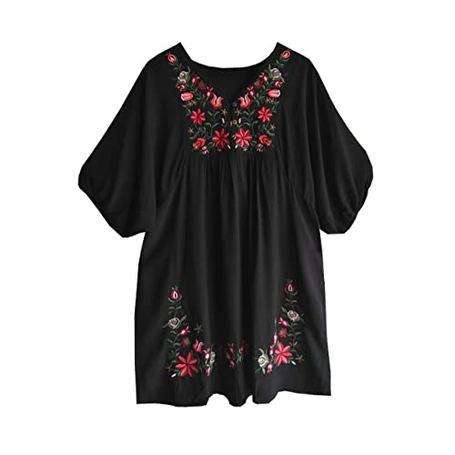 5e7758b3993 Amy Babe Mexican Floral Embroidered Peasant Flowy Blouse Dressy Cover Ups  Tunic Tops