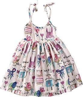 MUSTY 子供 女の子 かわいい ふわふわ ノースリーブ ワンピース 動物プリント ウサギ 小鳥 小猫 スカート 1~6歳設定 ホワイト 夏 (130)