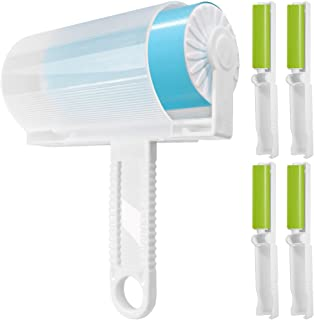 5 Pack Sticky Lint Roller with Cover, FineGood Reusable Washable Travel Dust Picker Cleaner Remover Brush Value Set for Clothes Pet Hair Debris - Blue, Green