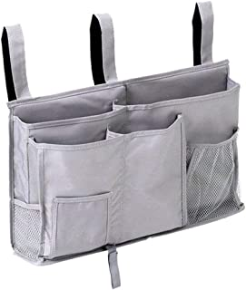 DuomiW Bedside Storage Organizer, Bedside Caddy Hanging Storage Bag, Bunk Dorm Rooms Hospital Bed Rails and Baby Bed with 8 Pockets (Grey)