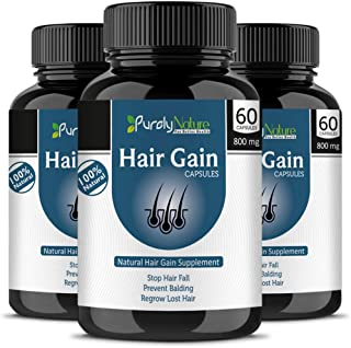 Generic Purely Nature Hair Care Extract For Loss, Fall, Baldness, Problems 800 Mg - 60 Capsules (Pack Of 3)