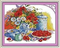 クロスステッチ キット 刺繍刺しゅうキットティーカップの花(11CT)手芸家の装飾初心者DIY刺繍手作り工芸品大人の子供針仕事ホギフト刺繍糸 針 布キット壁の装飾40x50cm