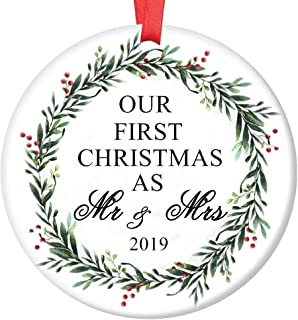 LLIGHT Mr & Mrs Ornament 2019 First 1st Holiday Ornament White Ceramic Christmas Married Bridal Shower Gift - 3 inches