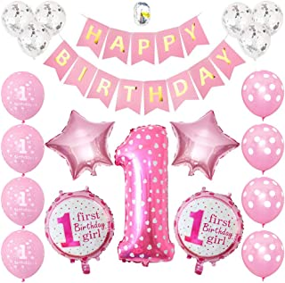 1st Birthday Girl Decorations Kit - Baby Girl First Birthday Decorations One Year Balloon