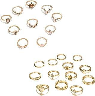 CSIYAN 6-16 PCS Knuckle Stacking Rings for Women Teen Girls,Boho Vintage Finger Rings Stackable Gold Silver Midi Rings Set...