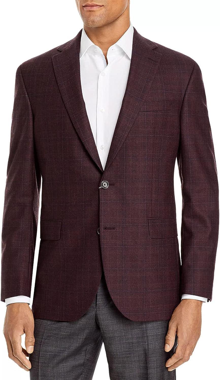 Jack Victor Mens Conway Plaid Wool Sport Coat 46 Regular Burgundy