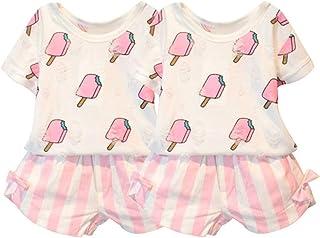 Smileshop01 Conjunto de Ropa de Verano para niñas con Playera Impresa en Helado y Pantalones Cortos de Lazo a Rayas, 2 Unidades