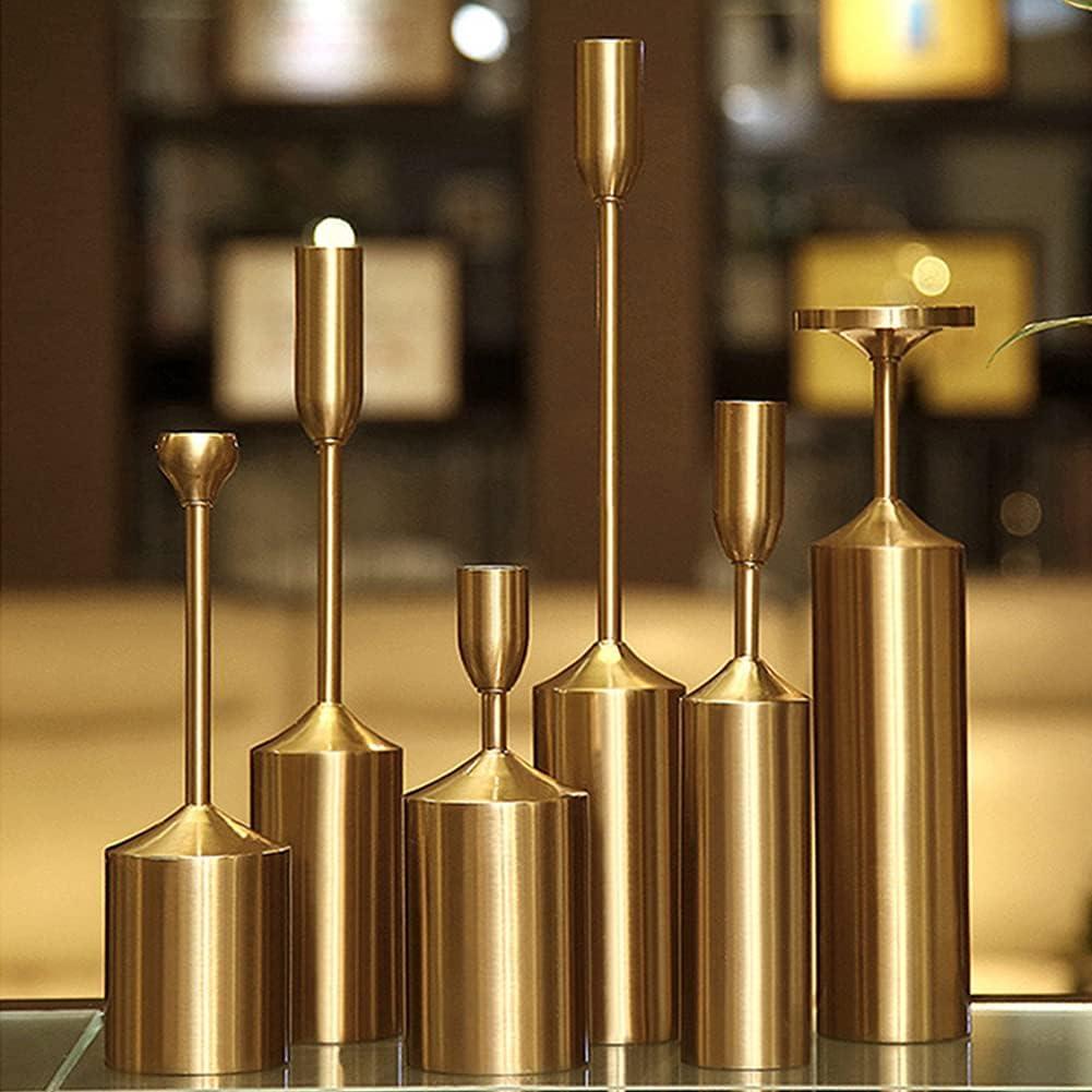 Set of 6 Golden Candle Regular dealer Holders Fees free!! Candles Modern Decorat for Taper