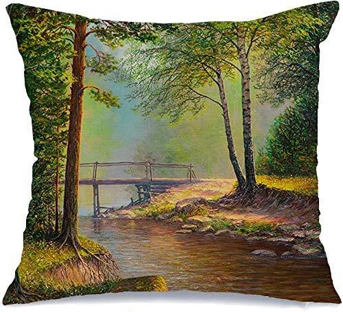 Decoración Throw Pillow Cover Funda de cojín Marrón Pintura al óleo Paisaje Colorido Bosque de verano Hermoso Puente del río Vintage Naranja vivo Funda de Cojine 45 X 45CM
