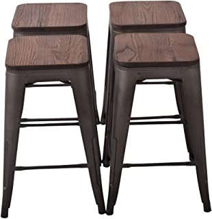 Changjie Furniture 26'' High Backless Metal Bar Stool for Indoor-Outdoor Kitchen Counter Bar Stools Set of 4 (26 inch, Bronze with Wood seat)