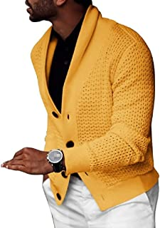 GRMO Men Shawl Collar Winter Knitted Button Up Thicken Solid Cardigan Coat