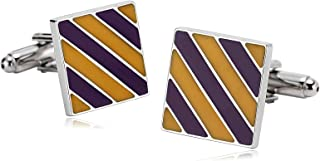 ANAZOZ Stainless Steel Cufflinks for Men Shirt Cufflinks Wedding Square Twill Stripes