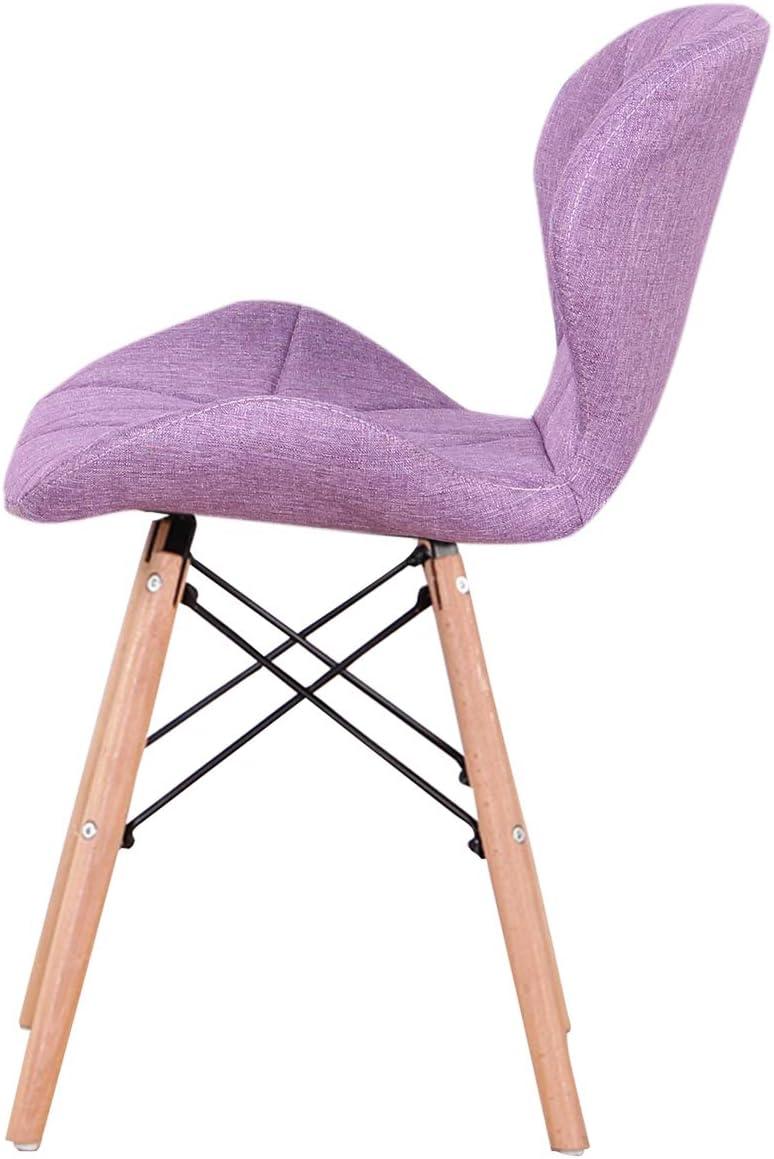 Luckeu Lot de 4 fauteuils de salle à manger rembourrés vintage en tissu de lin pour salon, chambre à coucher, cuisine, pieds en bois massif et croix en métal Rose